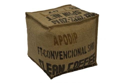 Pouf en sac de café recyclé (toile de jute) - Apodip, Lilokawa