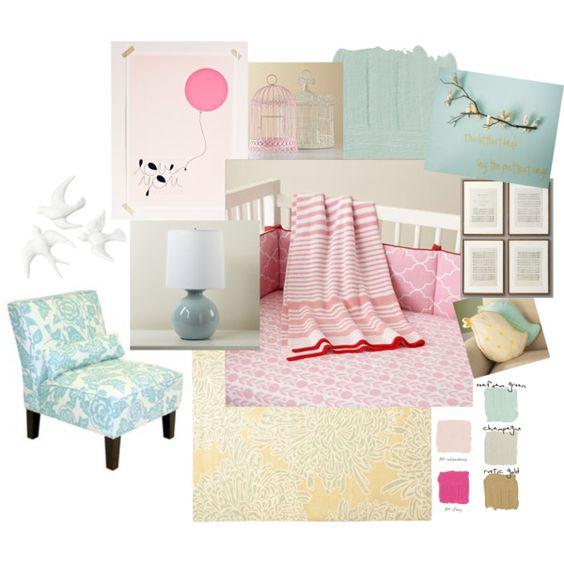"Baby Girl Nursery""The Littlest Birds"" by jlreid on Polyvore"