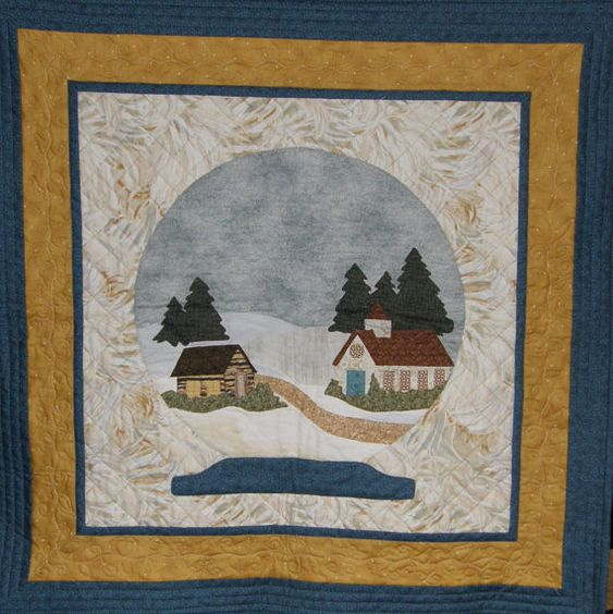 Quilted Wall Hanging christmas winter art quilt, quilted wall hanging, quiltsy handmade