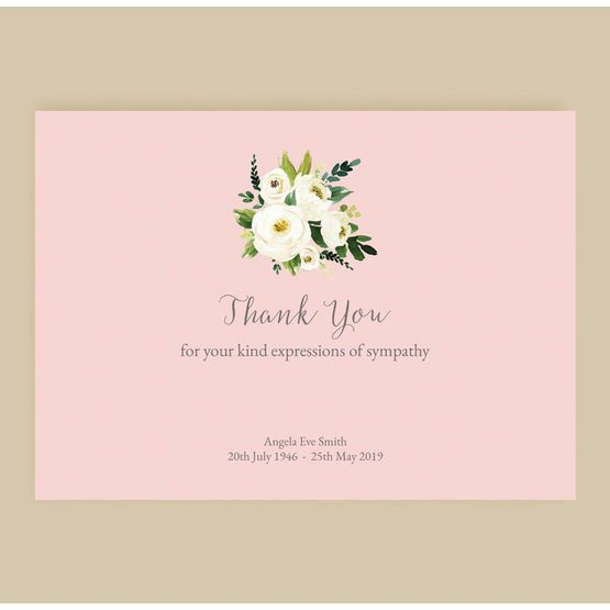 Pink Cream Flowers Funeral Memorial Thank You Cards Funeral