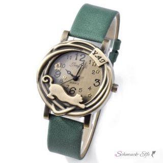 Damen Armbanduhr Katze vintage grün