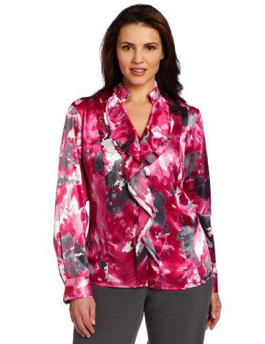 Jones New York Women's Plus Ruffle Front Blouse, « Shirt Add