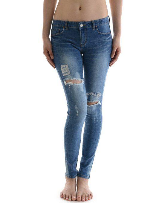 Attractive torn Denim Pants Vintage Destroyed Girls Skinny Jeans ...