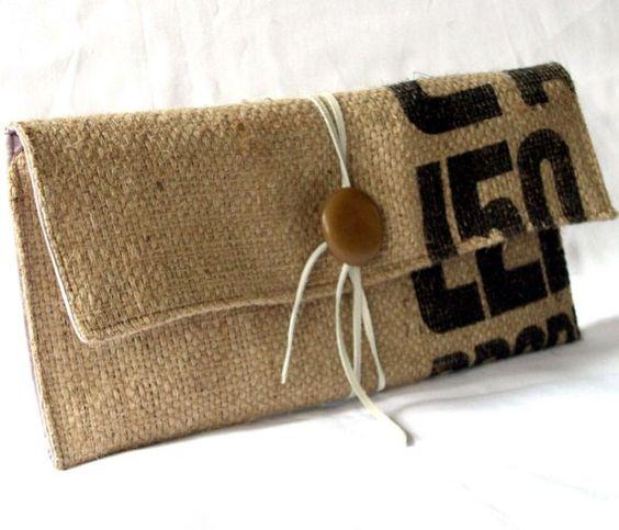 Embrague de café saco arpillera por sidneyann en Etsy