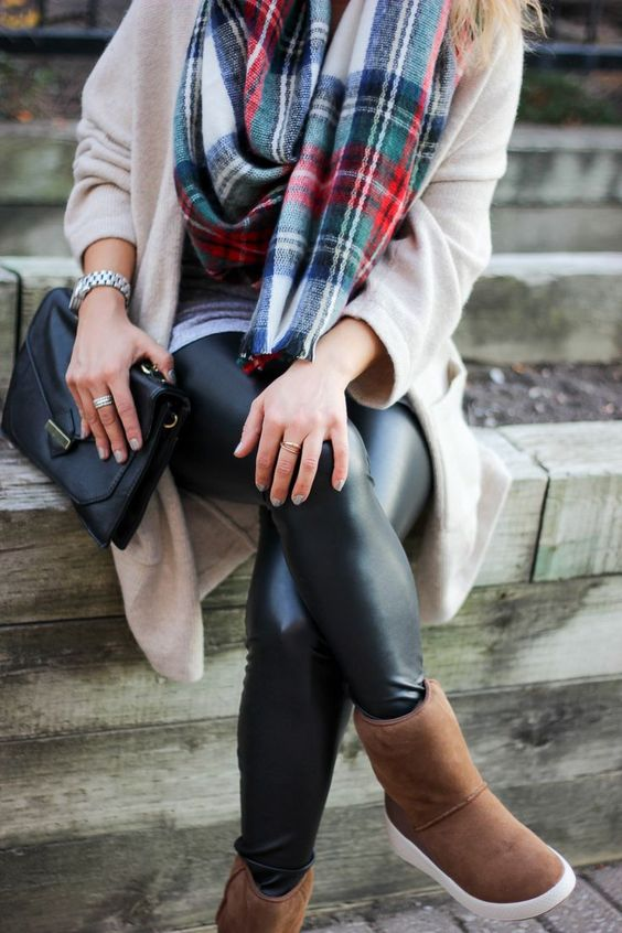 Cozy in Plaid and Ecco Ukiuk Boots - Fashion blogger off-duty, cozy fall and winter outfit idea