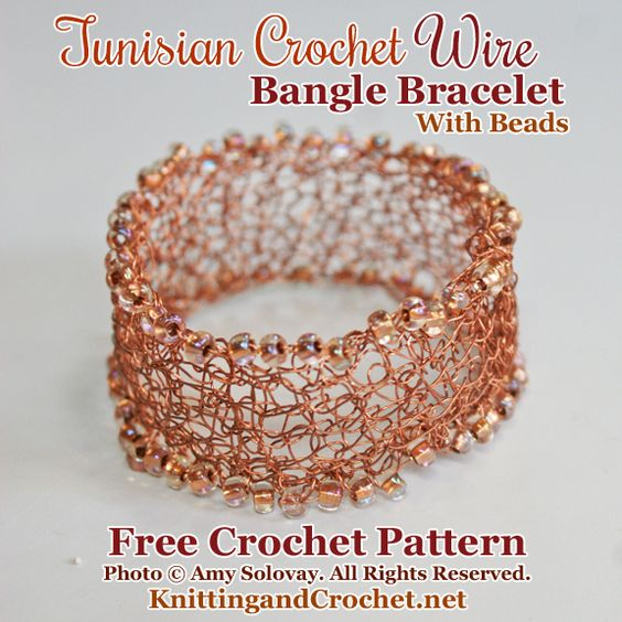 This Bracelet Incorporates Three Different Crochet Techniques: Tunisian Crochet, Wire Crochet and Bead Crochet.