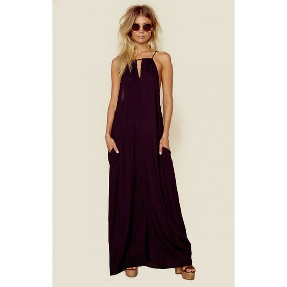 Indah Miro Cinch Neck Maxi Dress ($128) ❤ liked on Polyvore featuring dresses