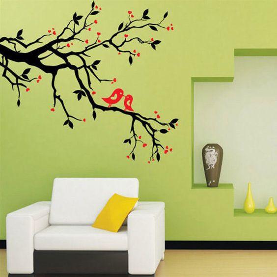 Sticker muraux arbre branche oiseau autocollant for Autocollant dcoratif mural