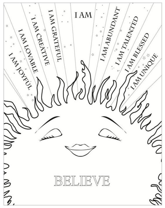 Affirmations Colouring Sheet