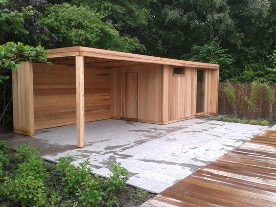 Pavillon Schuppen Oder Abstellraum Mit Flachdach Und Markise Loungebereich Moderne Abstellraum Flachdach G Garten Gartenhaus Gartenhaus Mit Veranda