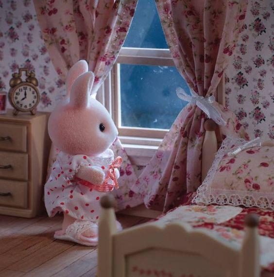Sylvanian family. Bedroom window. Floral wallpaper, curtains & bedspread. Bunny.: