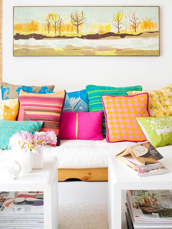 sea of color: Colourful Cushions, Interior Design, Bright Color, Living Room, Colorful Pillows, White Couch, Bright Pillows
