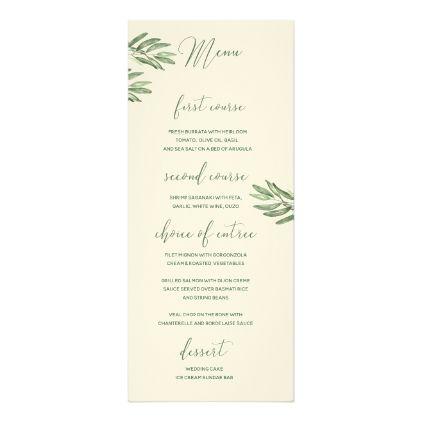 Olive Leaves Wedding Menu Card - spring wedding diy marriage ...