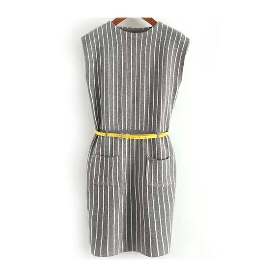 Grey Round Neck Vertical Stripe Knit Dress (41 CAD) ❤ liked on Polyvore featuring dresses, round neckline dress, gray dress, grey knit dress, knit dress and grey dress
