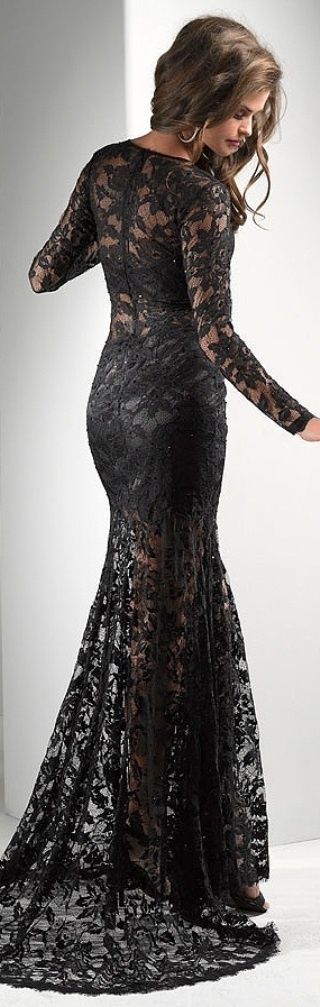 Black lace long dress! OMG  Dresses  Pinterest  Beautiful Lace ...
