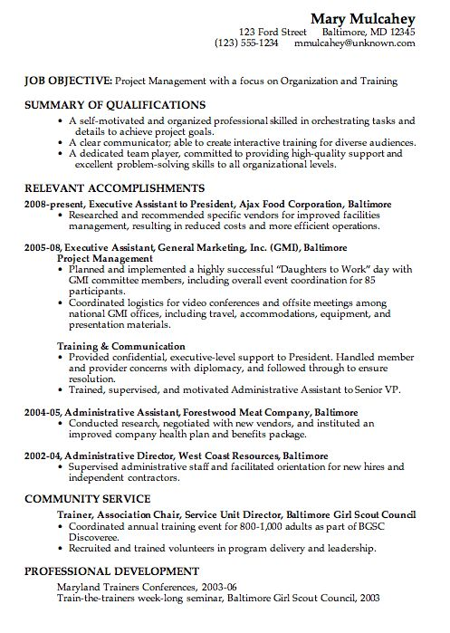 Combination Resume Sample Project Management For Career Change It Includes Volunteer Work And Has No C Resume Examples New Resume Format Resume Template Word