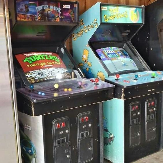 """""""Ninja Turtles in Time"""" and """"The Simpsons"""" arcade cabinets."""
