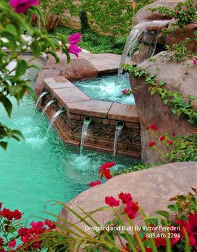 Gorgeous Hot Tub With Water Feature Into Pool Just