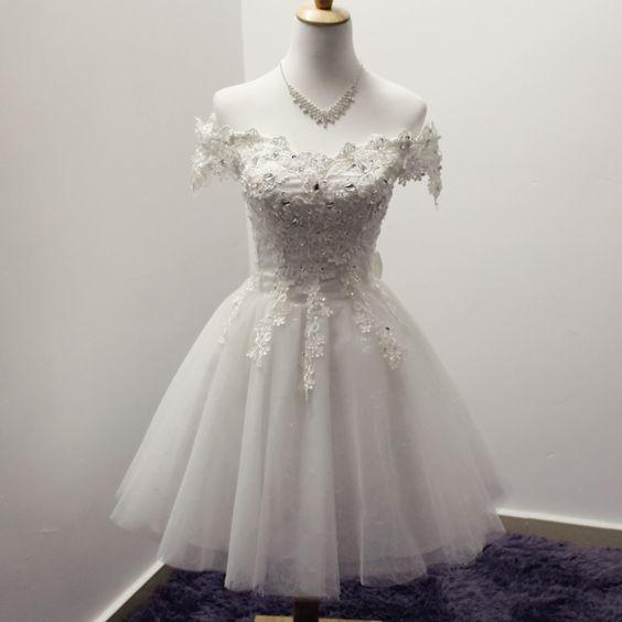 Barato Branco Vermelho Apliques Fora do Ombro vestido de Baile Curto de Dama de…: