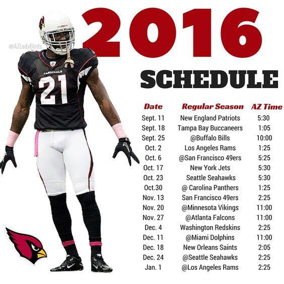 Arizona Cardinals 2016 Season schedule with Patrick Peterson. #BirdGang #AZLadyBirds https://www.facebook.com/AZLadyBirds/ Are you ready for some football? NFL