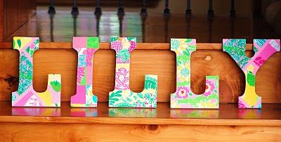 Make lilly pulitzer letters by painting them or covering for How to cover cardboard letters with fabric