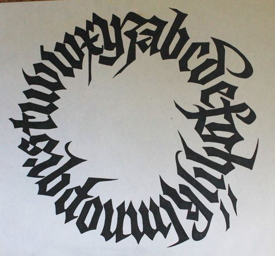Gothic alphabet circle calligraphy by knight of olde on