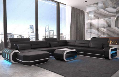 Leather Sectional Sofa Xl Roma Big Cornersofa Design Couch Led Lighting Usb Sofa Design