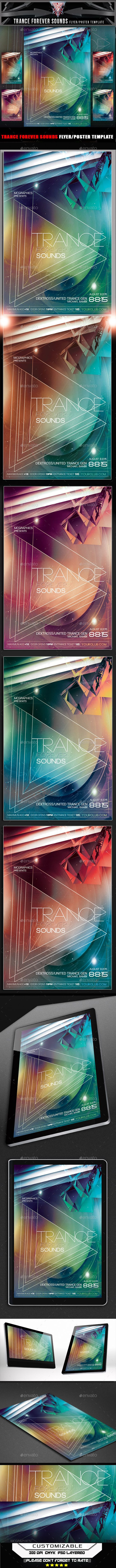 PSD  Trance Forever Sounds Flyer Template • Click here to download ! http://graphicriver.net/item/trance-forever-sounds-flyer-template/11713994?ref=pxcr