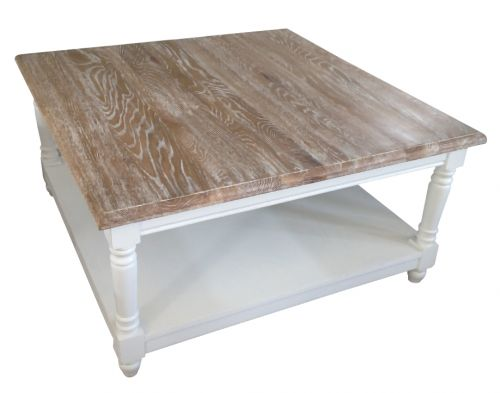 French Chateau White Square Oak Coffee Table With Washed Wood Top