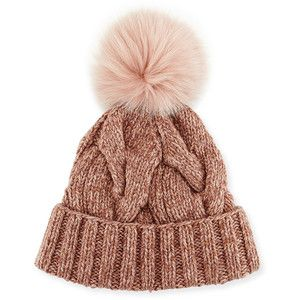 Loro Piana Cable-Knit Fur Pom-Pom Hat