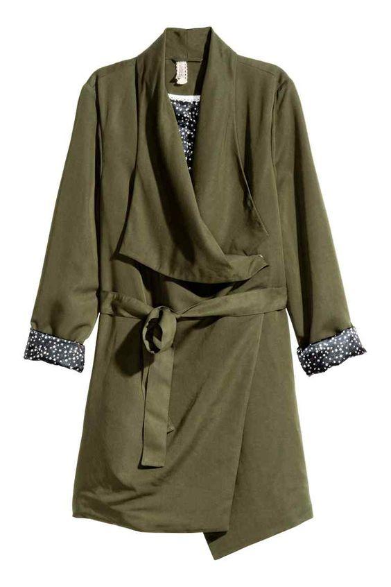 Casaco comprido drapeado | H&M