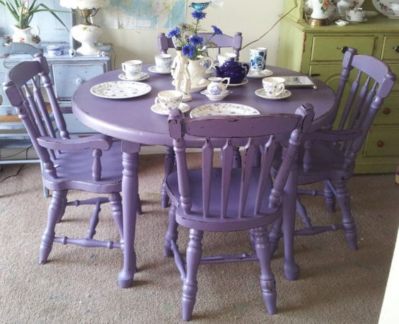 purple antique shabby chic mahogany dining table chairs