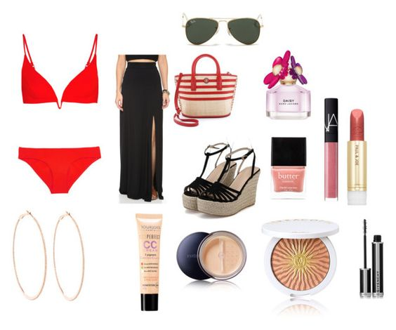 """Look Praia"" by milinha-654 ❤ liked on Polyvore featuring Zimmermann, Clayton, Tory Burch, Marc Jacobs, Butter London, Ray-Ban, Rosa de la Cruz, Bourjois, Estée Lauder and Guerlain"