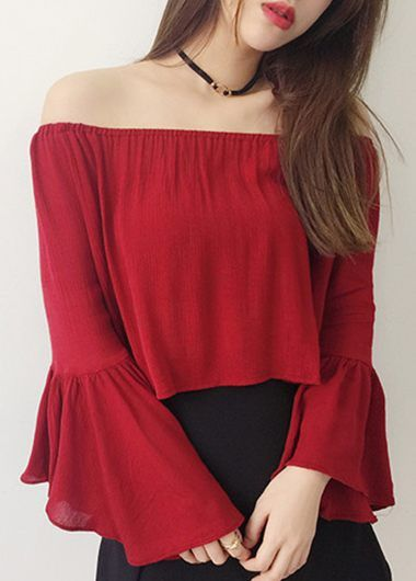 Wine Red Bell Sleeve Off The Shoulder Crop Top