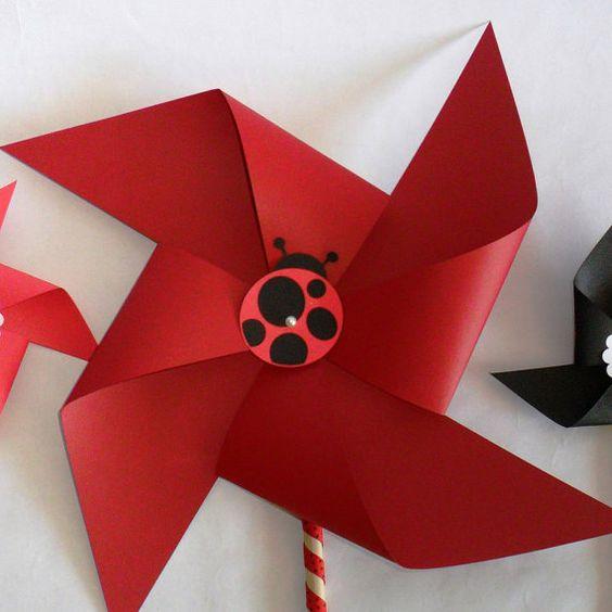 Ladybug Favors Paper Pinwheels Baby Shower by PinwheelPretties