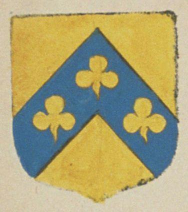 Claude DUFLOET, écuyer, seigneur d'Aventon. Porte : d'or, à un chevron d'azur, chargé de trois trèfles d'or | N° 48