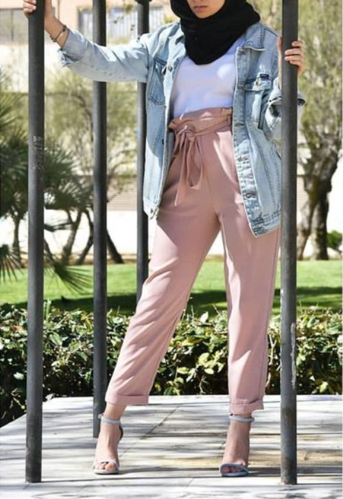 dressy pants-bow pants,tie pants-Spring breathy hijab outfits – Just Trendy Girls