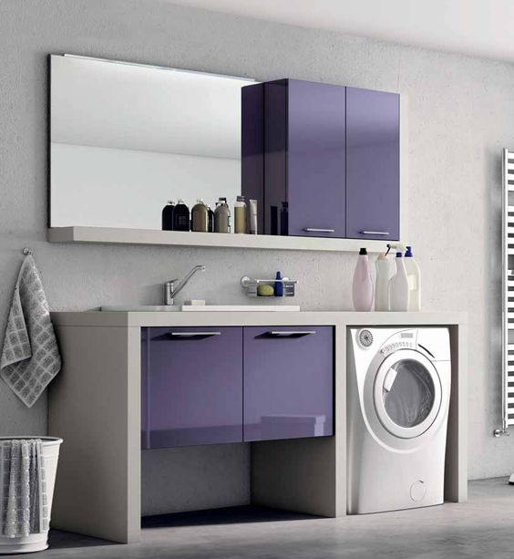 мебель для ванной сиреневого цвета