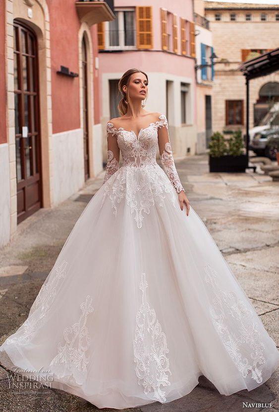princess ball gown a line wedding dress sheer button back chapel train