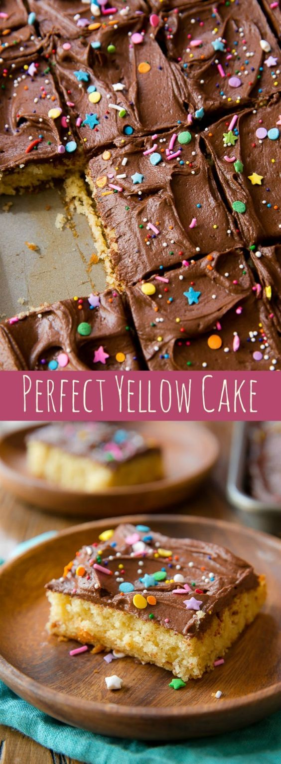 Yellow Sheet Cake with Chocolate Fudge Frosting Dessert Recipe via Sally's Baking Addiction - What I love most about this perfect yellow cake is that it's EASY! Quick, simple, buttery, and rich! The Best EASY Sheet Cakes Recipes - Simple and Quick Party Crowds Desserts for Holidays, Special Occasions and Family Celebrations #sheetcakerecipes #sheetcake #sheetcakes #cakerecipes #cakes #dessertforacrowd #partydesserts #christmasdesserts #thanksgivingdesserts #newyearseve #birthdaydesserts