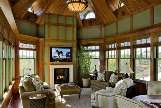 Gorgeous Four Season Room With Fireplace Fourseasonrooms