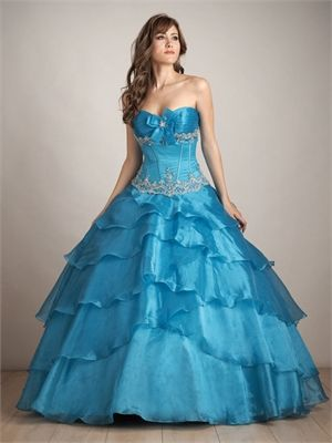Ball Gown Sweetheart Neckline with Embroidery Floor Length Organza Satin Quinceanera Dress QD1153 www.dresseshouse.co.uk £146.0000