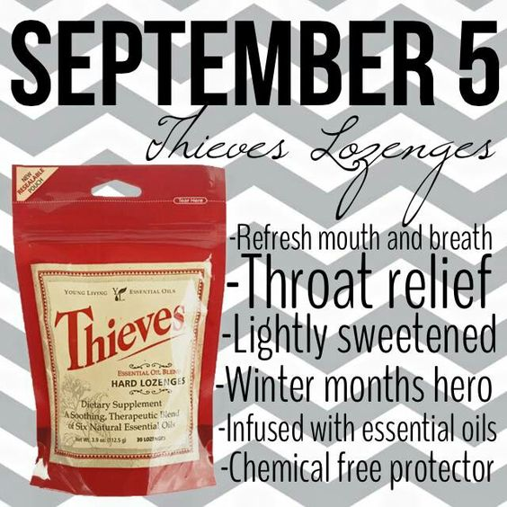 Young Living Thieves® Hard Lozenges will refresh your mouth and breath and provide soothing relief for your throat. Teresa Mackey tmarano.2007@gmail.com Young Living Independent Distributor Enroller/Sponsor #3017117