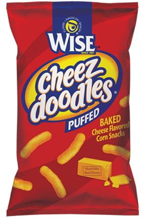 WISE  PUFFED CHEEZ DOODLES  -  These are the original melt-in-your-mouth Doodles that are often copied, but never beaten. Covered in real cheddar cheese, your taste buds will thank you.