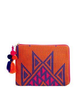 ASOS iPad Case In Aztec With Chunky Zip And Pom Pom