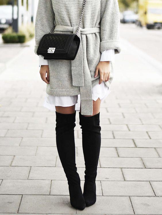 Outfit: Overknee Stiefel kombinieren