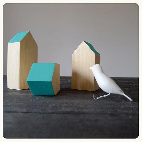 3 schöne Holzhäuser, Kinder Zimmer Dekor, Kinder-Spielzimmer-Skulptur, handgemachte Geschenke