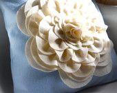 Eco friendly Royal Rich Purple Violet felt  peony cupcake fluff flower pillow cover. $35.00, via Etsy.