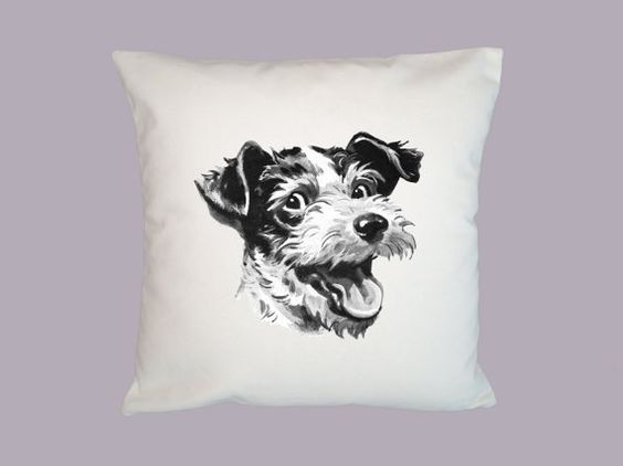 Adorable Vintage Terrier Face 16x16 Pillow Cover  by WhimsyFrills, $20.00