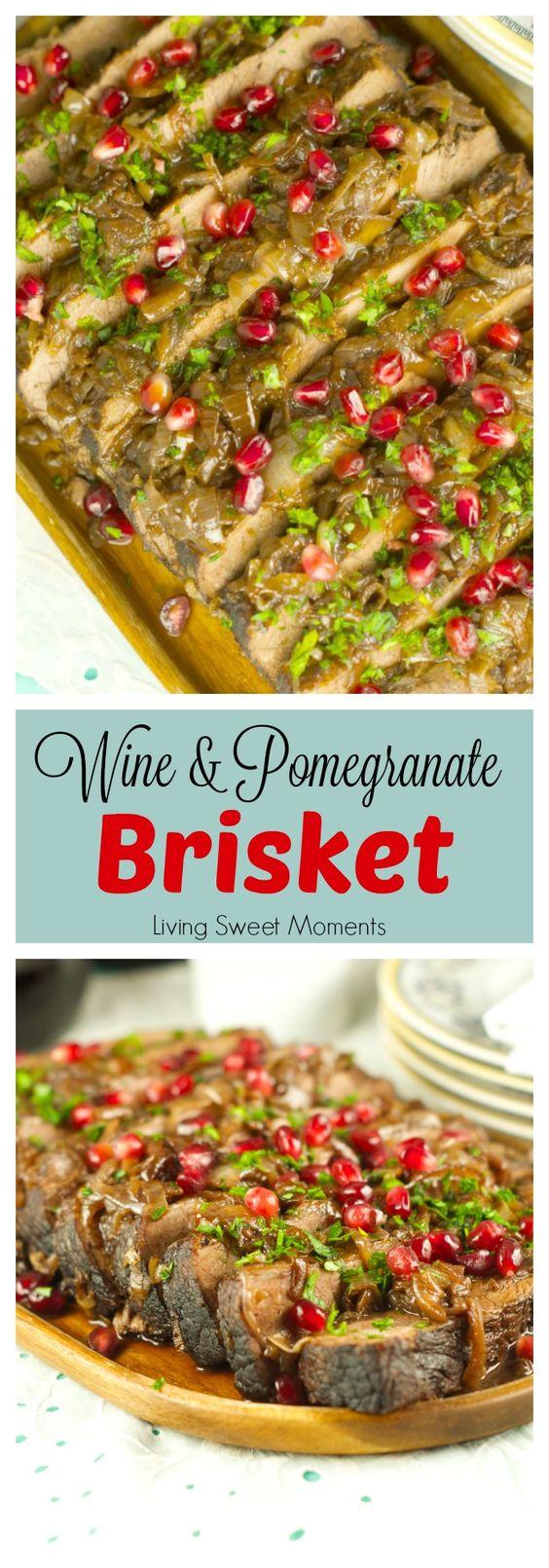Wine And Pomegranate Brisket Recipe: delicious braised brisket with a ...